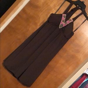 Large Brown halter dress with bead work